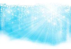 Tema azul claro chispeante de la Navidad/del invierno Imagen de archivo libre de regalías