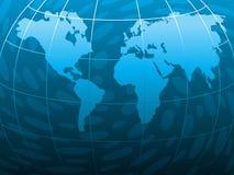 Tema basato blu astratto con il mondo Immagine Stock