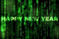 Tema binário da matriz da textura do fundo do ano novo feliz Foto de Stock Royalty Free