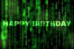 Tema binário da matriz da textura do fundo do feliz aniversario Fotografia de Stock Royalty Free