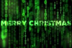 Tema binário da matriz da textura do fundo do Feliz Natal Fotografia de Stock Royalty Free