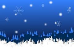 Tema blu di natale con i pini ed i fiocchi di neve Immagini Stock