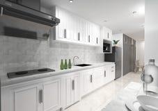 Tema branco interior da cozinha Imagens de Stock
