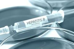 Tema coloreado azul de la vacunación de la hepatitis b fotografía de archivo libre de regalías