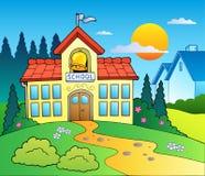 Tema com prédio da escola grande Imagem de Stock
