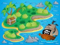 Tema con l'isola ed il tesoro 1 Immagini Stock Libere da Diritti