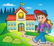 Tema con la construcción del muchacho y de escuelas Imagen de archivo libre de regalías