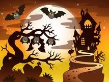 Tema con la siluetta 2 di Halloween Immagini Stock