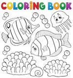Tema coralino 2 de los pescados del libro de colorear ilustración del vector