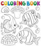 Tema coralino 1 de los pescados del libro de colorear Foto de archivo