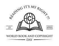 Tema d'annata di giorno di libro e di copyright di mondo di parola illustrazione di stock