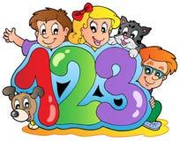 Tema da escola com números Foto de Stock Royalty Free