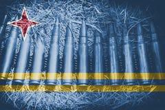 Tema da munição com mistura da bandeira de Aruba ilustração royalty free