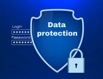 Tema da proteção de dados com protetor e fechamento Fotografia de Stock Royalty Free