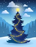 Tema 5 da árvore de Natal Foto de Stock Royalty Free