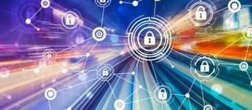 Tema da segurança do Cyber com borrão de movimento de alta velocidade ilustração stock