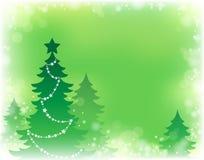 Tema 3 da silhueta da árvore de Natal Fotografia de Stock Royalty Free