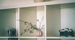 tema das decorações do casamento, flores no interior branco - vintage f Imagem de Stock Royalty Free
