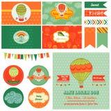 Tema de Airballoon de la fiesta de bienvenida al bebé - para el partido Imágenes de archivo libres de regalías
