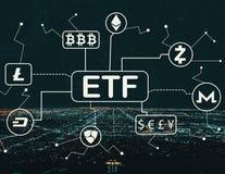 Tema de Cryptocurrency ETF com Los Angeles do centro foto de stock