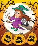Tema de Dia das Bruxas com bruxa bonito e gato Imagem de Stock