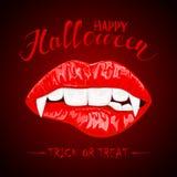 Tema de Halloween con los labios y los colmillos femeninos rojos del vampiro ilustración del vector