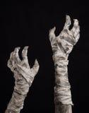 Tema de Halloween: viejas manos terribles de la momia en un fondo negro Imagen de archivo libre de regalías