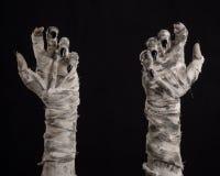 Tema de Halloween: viejas manos terribles de la momia en un fondo negro Fotografía de archivo libre de regalías