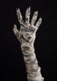Tema de Halloween: viejas manos terribles de la momia en un fondo negro Foto de archivo libre de regalías
