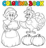 Tema de la acción de gracias del libro de colorante Foto de archivo