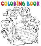 Tema 1 de la arca de Noahs del libro de colorear Foto de archivo libre de regalías