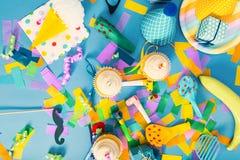 Tema de la celebración con los accesorios del partido Fotografía de archivo