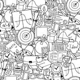 Tema de la ciencia de las matemáticas Modelo dibujado mano inconsútil sobre escuela y el aprendizaje Fondo del día del profesor libre illustration