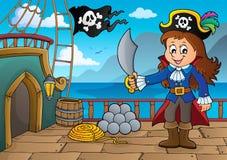 Tema 7 de la cubierta del barco pirata stock de ilustración