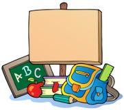 Tema de la escuela con la tarjeta de madera Fotos de archivo