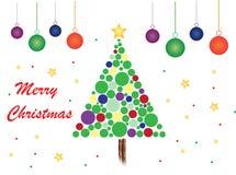 Tema de la Feliz Navidad con el fondo y las bolas blancos stock de ilustración