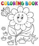 Tema 6 de la flor del libro de colorear Imágenes de archivo libres de regalías
