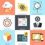 Tema de la gestión de datos, estilo plano, colorido, sistema del icono Fotografía de archivo