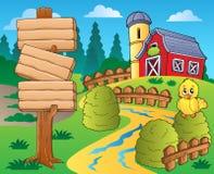 Tema de la granja con el granero rojo 1 Foto de archivo