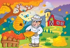 Tema 1 de la granja del otoño ilustración del vector