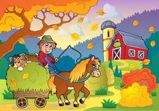Tema 4 de la granja del otoño ilustración del vector
