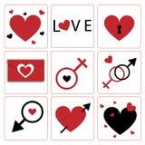 Tema de la icono-tarjeta del día de San Valentín del corazón de Vecrtor Fotografía de archivo libre de regalías