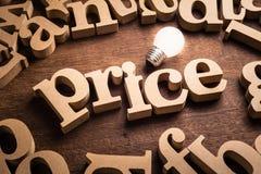 Tema de la idea del precio imagen de archivo libre de regalías