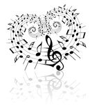 Tema de la música de la tarjeta del día de San Valentín Fotografía de archivo libre de regalías