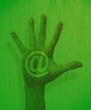 Tema de la mano del Internet Fotografía de archivo