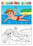 Tema 1 de la natación del libro de colorear Foto de archivo