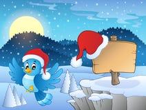 Tema de la Navidad con el pájaro y la muestra Imagenes de archivo