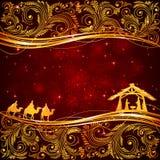Tema de la Navidad con los elementos florales stock de ilustración