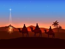 Tema de la Navidad con tres hombres sabios y la estrella brillante stock de ilustración