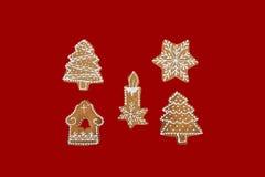 Tema de la Navidad en fondo rojo Fotografía de archivo